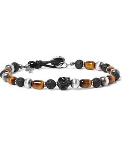 Peyote Bird | Sterling Tigers Eye And Onyx Bracelet