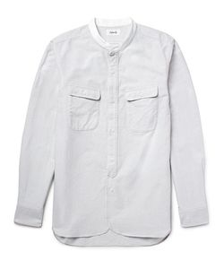 CHIMALA   Slim-Fit Grandad-Collar Striped Cotton Shirt