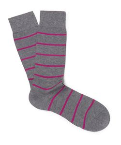 PANTHERELLA | Blavet Striped Egyptian Cotton-Blend Socks