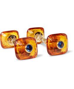 Trianon   Amber 18-Karat And Sapphire Cufflinks