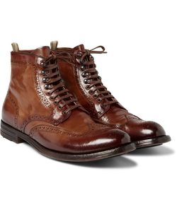 Officine Creative | Anatomia Burnished-Leather Brogue Boots