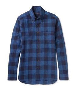Thom Sweeney | Slim-Fit Button-Down Collar Checked Linen Shirt