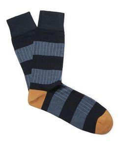 Corgi | Striped Ribbed Cotton-Blend Socks