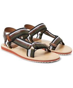 BERLUTI   Diego Striped Webbing And Polished-Leather Sandals