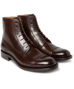 O'Keeffe | Algy Cap-Toe Polished-Leather Brogue Boots