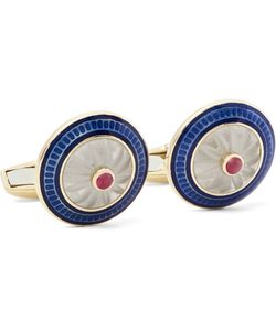 Deakin & Francis | 18-Karat Vitreous Enamel And Ruby Cufflinks