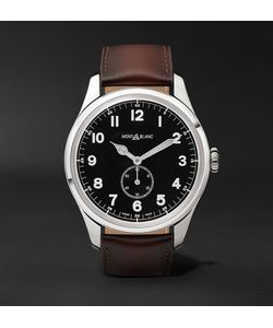 Mont Blanc | 1858 Automatic 44mm Stainless Steel And Leather Watch