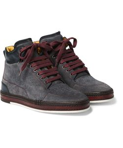 BERLUTI | Ferro Suede And Leather High-Top Sneakers