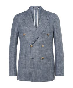 RICHARD JAMES | Spirit Slim-Fit Double-Breasted Checked Linen And Wool-Blend
