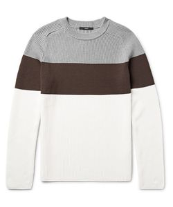 HELBERS | Colour-Block Ribbed Cotton Sweater