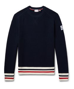 Moncler Gamme Bleu | Stripe-Trimmed Waffle-Knit Cotton Sweater