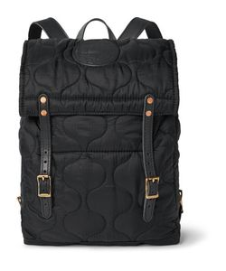 Yuketen | Leather-Trimmed Quilted Shell Backpack