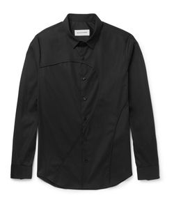 Solid Homme | Slim-Fit Panelled Stretch-Cotton Poplin Shirt