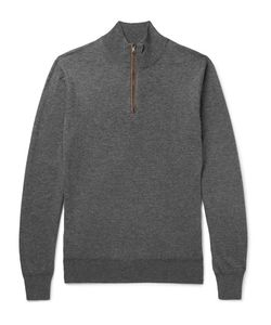 Hackett | Slim-Fit Suede-Trimmed Wool And Cotton-Blend Half-Zip Sweater