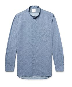 Paul Smith | Grandad-Collar Print Cotton-Poplin Shirt
