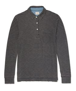 Faherty | Striped Indigo-Dyed Cotton-Jersey Polo Shirt