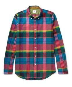 PS PAUL SMITH | Slim-Fit Checked Cotton And Linen-Blend Shirt