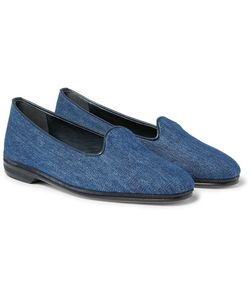 RUBINACCI | Leather-Trimmed Denim Loafers