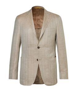 Canali   Kei Slim-Fit Herringbone Wool Silk And Linen-Blend Blazer