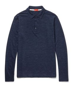 Isaia | Mélange Wool And Cotton-Blend Polo Shirt