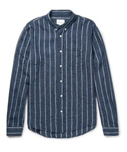 Steven Alan | Cadet Striped Button-Down Collar Linen-Blend Shirt