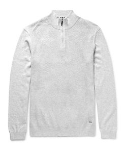 HUGO BOSS | Textured-Knit Cotton Half-Zip Sweater