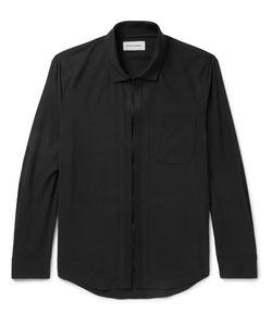 Solid Homme | Grosgrain-Trimmed Poplin Zip-Up Shirt