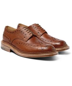 Grenson | Archie Triple-Welt Pebble-Grain Leather Wingtip Brogues