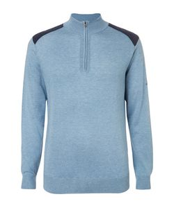 DUNHILL LINKS | Two-Tone Silk Wool And Cashmere-Blend Half-Zip Sweater
