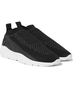 Filling Pieces | Runner Sac Leather-Panelled Stretch-Knit Sneakers