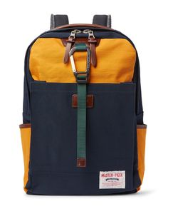 Master-Piece | Link Leather-Trimmed Colour-Block Nylon Backpack