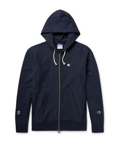 Beams | Champion Printed Cotton-Jersey Zip-Up Hoodie