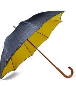 LONDON UNDERCOVER | Maple Wood-Handle Windowpane-Checked Twill Umbrella
