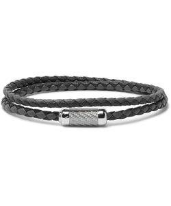 Tateossian | Monte Carlo Woven Leather Sterling Bracelet
