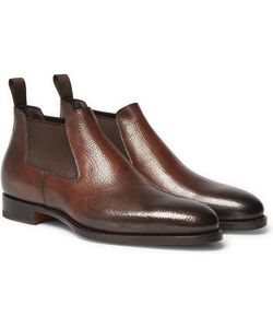 Santoni | Burnished Grained-Leather Chelsea Boots