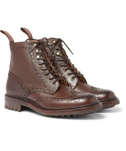 CHEANEY | Tweed C Pebble-Grain Leather Wingtip Brogue Boots