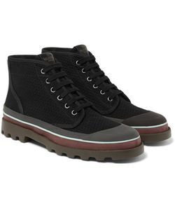 Valentino | Rubber-Trimmed Eyelet-Detailed Canvas Boots