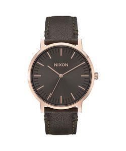 Nixon | Кварцевые Часы Porter Leather Gunmetal/Surplus