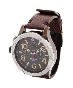 Nixon | Часы 48-20 Chrono Leather Antique Copper/Brown