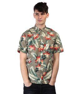 Huf | Рубашка Birds Of Paradise S/S Woven Olive