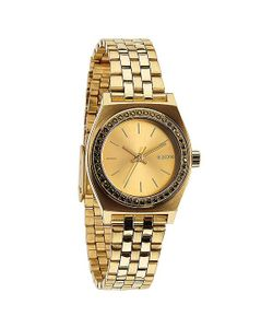 Nixon | Часы Женские Small Time Teller All Gold Crystal