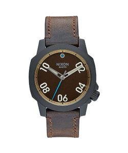 Nixon | Кварцевые Часы Ranger 40 Leather All Black/Brass/Brown