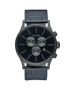 Nixon | Кварцевые Часы Sentry Chrono Leather Navy Gator