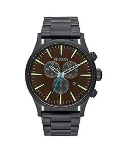 Nixon | Кварцевые Часы Sentry Chrono All Black/Brass/Brown
