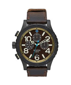 Nixon | Кварцевые Часы 48-20 Chrono Leather All Black/Brass/Brown