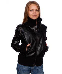 Zoo York | Куртка Кожаная Женская Washed Leather Bomber Black