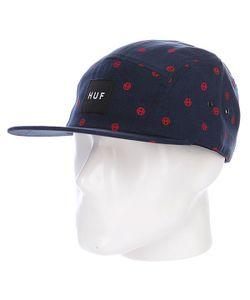 Huf | Бейсболка Пятипанелька Circle H Volley Navy/Red