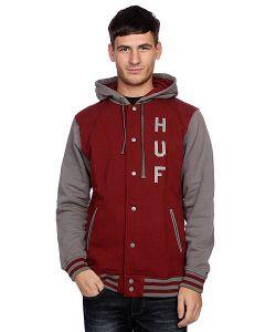 Huf | Куртка Бомбер Campus Snap Front Premium Hoodie Burgundy/Gray