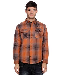 Huf | Рубашка Утепленная Alameda Quilted Premium Flannel Brown/Burnt Orange