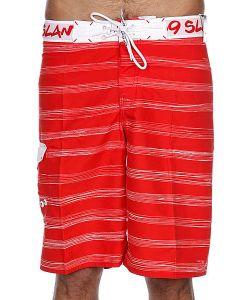 69Slam   Пляжные Мужские Шорты Stripes Boardshort Red